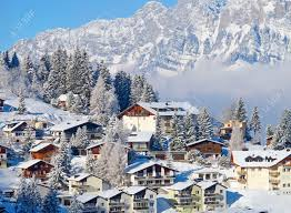 Winter Houses Winter Holiday Houses In Swiss Alps Stock Photo Picture And