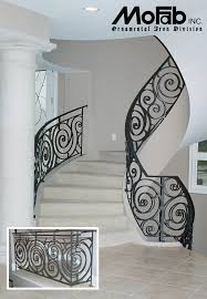 Wrought Iron Stair by Custom Wrought Iron Art Railings Art Deco Ironwork By Mofab