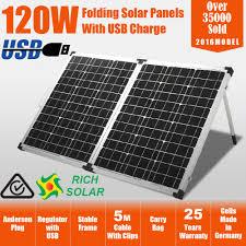 solar panels new 12v 120w folding solar panel kit mono caravan boat camping