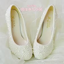 wedding shoes flats ivory handmade pearl wedding shoes 2015 new flat 4 5cm 8cm heel ivory