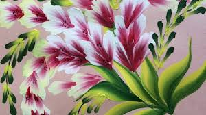 Decorative Flowers by One Stroke Painting Shell Stroke Simple Decorative Flowers Youtube