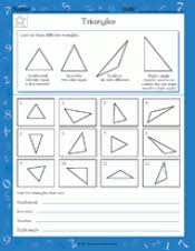 naming triangles worksheet types of triangles math practice worksheet grade 4 teachervision