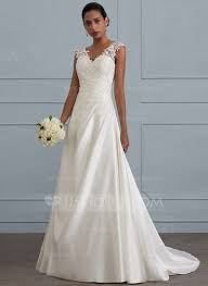 satin v neck wedding dress gown v neck sweep satin wedding dress with ruffle