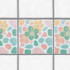 Tile Decals For Kitchen Backsplash Decorative Tiles Stickers Flower Design Pack Of 16 Tiles Tile