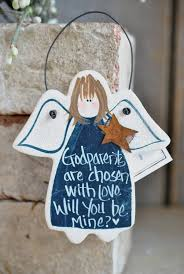 will you be my godparents gift salt dough ornament cookie