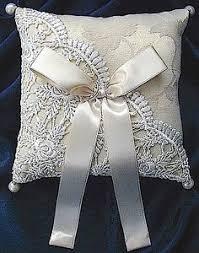 wedding pillows wedding ring pillow with beaded alencon lace ivory satin sash