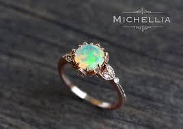 vintage floral ring in opal opal leaf