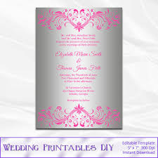 pink and silver wedding invitation template diy silver foil