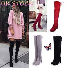 s thigh boots uk uk s the knee stretch thigh boots block heels lace up