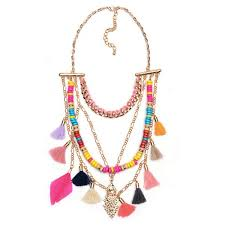 beaded charm necklace images Wholesale chic multi color beaded fringe tassel charm statement jpg