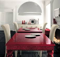 colorful dining table red dining table with white high backed chairs by altamoda