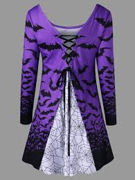 halloween spider web bat lace up top light purple xl in long