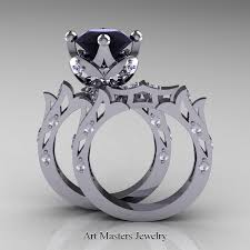 black diamond wedding sets modern antique 14k white gold 3 0 carat black and white diamond