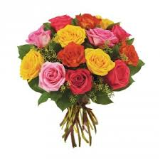 colored roses dozen mixed colored roses wrapped bouquet in clawson mi maple