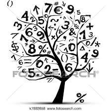 dein design clip kunst baum mit mathe symbole für dein design