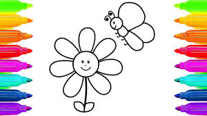how to draw flower and butterfly learning coloring pages for