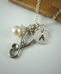 med school graduation gift stethoscope pendant necklace initial necklace personalized