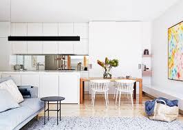 Island Bench Kitchen Kitchen Matt White Handleless Cabinets Mirror Splashback Long