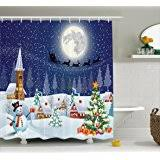 Santa Curtains Amazon Com Santa U0027s Flight Christmas Bathroom Shower Curtain By