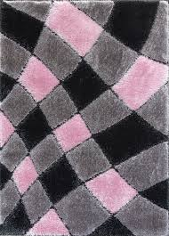 supreme shaggy rug grey pink 4032