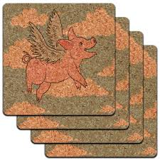 flying pig when pigs fly low profile cork coaster set