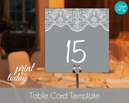 lace table number card template free color change instant