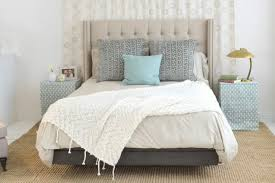 bedroom white nate berkus bedding with comfy bed and night stands