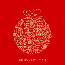 greeting christmas card with ball made with outline icons stock
