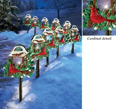 decoration christmas yard decorations red birds outdoor pathway