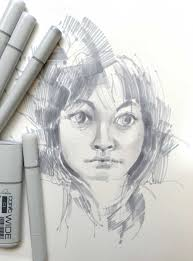 using copic wide markers in a portrait copic