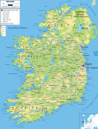 Physical Map Of Italy by Large Detailed Physical Map Of Ireland With All Cities Roads And