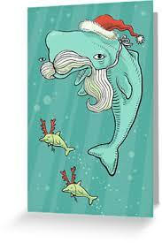 richard morden illustration christmas whale christmas card
