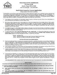 application for real estate inspector license trec