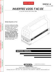 lincoln electric invertec v205 t user manual 109 pages