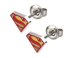 superman earrings dc comics superman logo earrings sports fan earrings