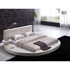 Modern King Size Bed Frame Queen Size Modern Round Platform Bed With Headboard In White