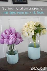 jar floral centerpieces silk floral arrangement and paint dipped jars our