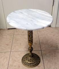 vintage pedestal side table vintage round marble top side table filigree brass pedestal base