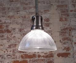 Glass Ceiling Fixture by Vintage Industrial Rustic Holophane Glass Ceiling Hanging Pendant
