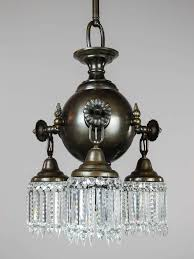 Ball Light Fixture by Colonial Combination Gas Electric Crystal Fixture Pair Available