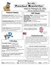 8 best images of weekly newsletter template for kindergarten