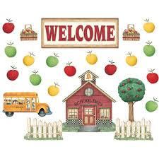 dm schoolhouse welcome bulletin board tcr4546 teacher created tcr4546 dm schoolhouse welcome bulletin board set in classroom theme