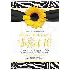 chic sweet 16 birthday invitation yellow sunflower black white