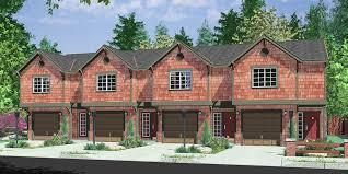 Multi Family House Plans Triplex House Front Color Elevation View For D 441 Multifamily House Plans