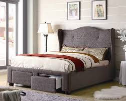 bedroom gray fabric upholstered platform bed which furnished with