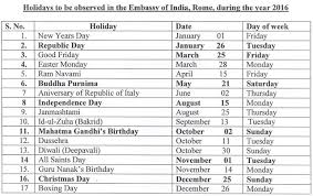 2016 holidays india