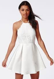 halter neck missguided lace halterneck skater dress white where to buy how