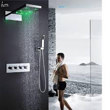 2018 bath rain shower set 22 inch 3 function led color shower head