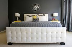 glidden paint bedroom transitional with accent wall bed pillows
