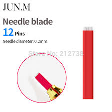 tattoo needle for thin lines 50pcs 12 pins fog needles blade for permanent eyebrow tattoo needle